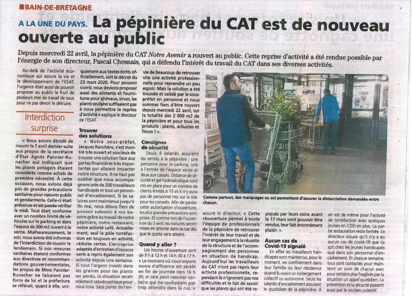 Article l'éclaireur 01-05-2020